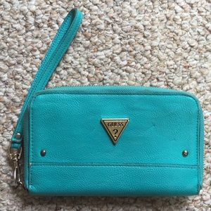 Guess Turquoise Wristlet